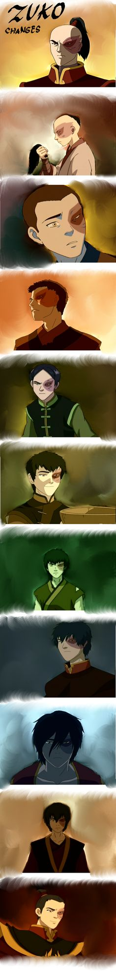 Zuko: Changes he has a lot of different hairstyles! I like his longer, shaggier hair best! He is Beautiful!