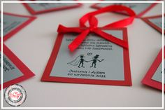 Zawieszki na alkohol - czerwony ślub / Red Wedding www.cardsdesign.pl