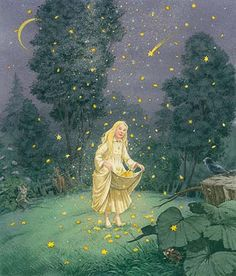 My Grimms Marchen book was a beautiful blue with the blond star girl on the cover, dressed in pure white.