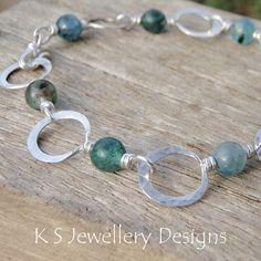 Kyanite Sterling Silver Hammered Circle Bracelet (KS25) | Flickr - Photo Sharing ~ Kristin Smith