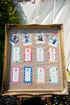 Colourful table plan. Visit www.rosetintmywedding.co.uk for bespoke wedding planning and design.