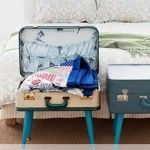Retro DIY a Suitcase Table in 3 Easy Steps - This project for vintage luggage will add retro flair and clever storage to your home. - Add some retro flair and clever storage to your home. Casa Retro, Retro Home, Vintage Suitcases, Vintage Luggage, Vintage Travel, Vintage Suitcase Table, Suitcase Storage, Luggage Suitcase, Suitcase Decor