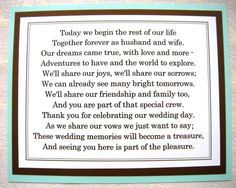 8x10 Flat Tiffany Blue and Brown Thank You for Celebrating Our Wedding Poem Sign - READY TO SHIP. $6.50, via Etsy.
