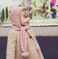 Hat and scarf Crochet PATTERN (pdf file) - Pom-pom scarf with hoodie (sizes baby to adult). $3.99, via Etsy.