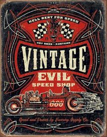 Vintage Evil - Hell Bent Rods | Automobile Signs | Tin Signs | Wall Decor | Pictures | Art | Pictures Frames and More | Winnipeg | Manitoba | MB | Canada