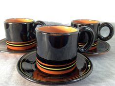 Coffee set of 3 cup & saucer Made in USSR in 1970s Russian Design Soviet vintage
