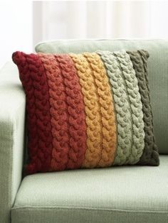 Pillow | Yarn | Free Knitting Patterns | Crochet Patterns | Yarnspirations #knittingpatternscushions