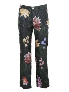 s For Restless Sleepers For Restless Sleeper Floral Trousers In Green For Restless Sleepers, Silk Pants, Green Silk, Pajama Pants, Trousers, Zipper, Floral, Polyvore, Shopping