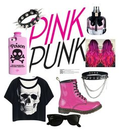 """Pink punk"" by lagabyr ❤ liked on Polyvore featuring Dr. Martens, Valfré, Ray-Ban and Yves Saint Laurent"