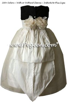 ebbc581f2 Flower Girl Dresses by Pegeen.com in Black and Ivory with Back Flowers and  Organza
