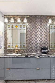 Create an artful focal point with this matching pair of vanity mirrors that adds flair to your bathroom decor. #bathroomdecor #mosaicmirrors #vanitymirrors #wallmirrorsdecorative Mosaic Bathroom, Mirror Mosaic, Mosaic Wall, Tall Wall Mirrors, Vanity Mirrors, Stained Glass Birds, Stained Glass Panels, Modern Bathroom Decor, Bathroom Trends