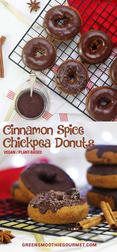 Cinnamon Spice Chickpea Donuts - Green Smoothie Gourmet #chocolate #chickpearecipes #donuts #healthydonuts