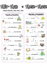 English worksheet: THIS-THESE / THAT-THOSE Más