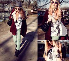 youreyeslies skull shirt, bycelina necklace, Bershka jeans, Primark Cardigan and Blazer