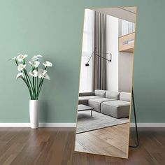 """Amazon.com: self Full Length Floor Mirror 65""""×22"""" Metal Aluminum Alloy Frame Floor Mirror with Standing Holder Standing Hanging or Leaning Against Wall Mirror(Golden): Kitchen & Dining Full Length Mirror In Bedroom, Full Length Floor Mirror, Wall Mounted Mirror, Wall Mirror, Gym Mirrors, Large Furniture, Silver Furniture, Furniture Decor, Bedroom Furniture"""