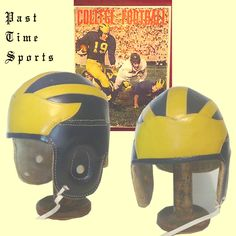 Michigan leather football helmet from `1939 - 1950 ...