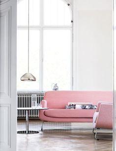 thedesignwalker:  PINK SOFA | MINIMAL CLEAN LIVING ROOM