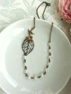 Three Rose Brown Glass Flowers, Leaf, Flying Bird, Ivory Pearls Necklace. Bridesmaid Gifts. Bridesmaids Necklace. For Best Friends.