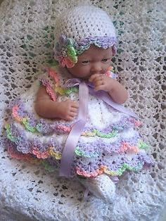 "Sweet DRESS, HAT & SHOE Set for 14"" La Newborn Baby or Reborn- Hand Crocheted"