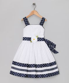 Take a look at this White & Navy Eyelet Dress - Girls by Sweet Heart Rose on #zulily today!