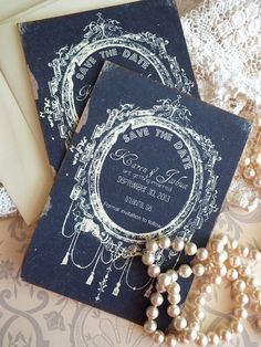Vintage Wedding Save the Date Cards Handmade by AVintageObsession