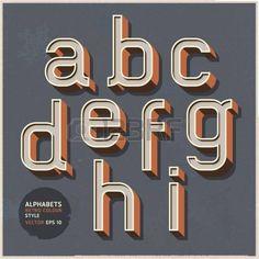 Alphabet retro colour style illustration  photo