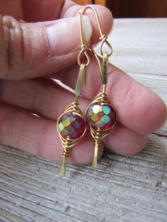 Cranberry Red and NuGold Wire Wrapped Herringbone Earrings