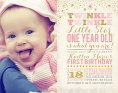 Twinkle Twinkle Little Star Baptism Invitation by partymonkey