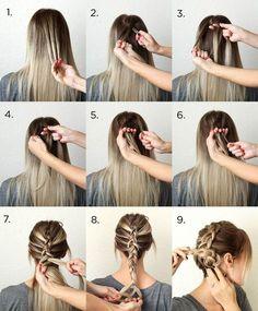 coiffure simple cheveux long par étapes- tresse bohème en chignon bas