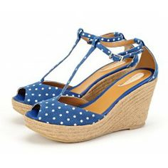 Taramay Vintage Polka-Dot Wedge Sandals