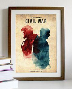 Vintage Capitán América Guerra Civil Movie Poster Print