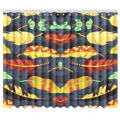 "Boho Feathers Nature Pattern Window Curtain 50""x84""(Two…"