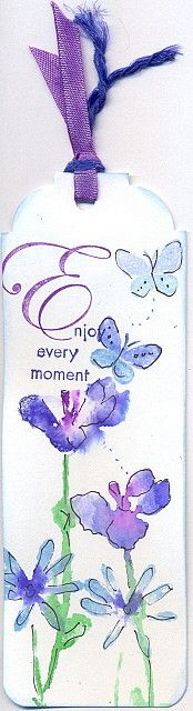 Flowers watercolour bookmark by swanlady21 * Janet, via Flickr