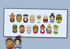 Nationalities - Mini people around the world cross stitch pattern