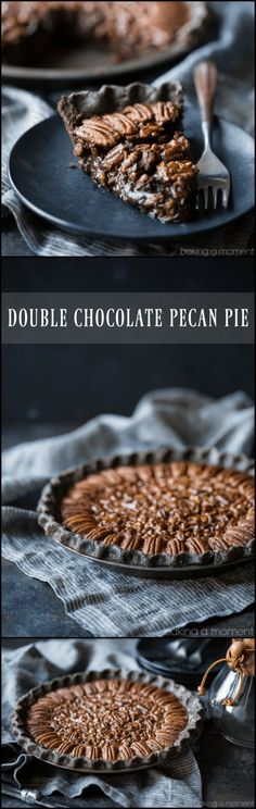 Double Chocolate Pecan Pie: So decadent! Loved the flaky chocolate crust, and the filling tastes just like a candy bar. #chocolate #pecanpie #easy #recipe #bourbon #nocornsyrup #best #withcocoa #dark #homemade #bakingamoment Köstliche Desserts, Delicious Desserts, Dessert Recipes, Pecan Pies, Chocolate Pies, Chocolate Recipes, Baking Chocolate, Dessert Chocolate, Chocolate Filling