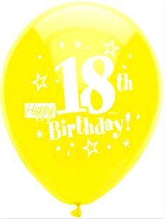 "Custom, Fun & Cool {Big Large Size 12"" Inch} 8 Pack of Helium & Air Inflatable Latex Rubber Balloons w/ Happy 18th Birthday Text Design [in Variety Assorted Multicolor] mySimple Products"