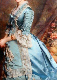 Incredible Dresses in Art - Blanche Marion Kay-Shuttleworth by Michele Gordigiani, 1876 1870s Fashion, Rococo Fashion, Victorian Fashion, Vintage Fashion, Historical Costume, Historical Clothing, Fashion History, Fashion Art, Mode Renaissance