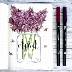 This is such an amazing idea for the bullet journal! Can't wait to try this idea in my own planner! April Bullet Journal, Bullet Journal Cover Page, Bullet Journal Spread, Bullet Journal Ideas Pages, Bullet Journal Layout, Bullet Journal Inspiration, Bullet Journal Months, Journal Covers, Bullet Journals