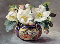Anne Cotterill (1933-2010) –– White Hellebores    in a Chinese Vase  (712×525)