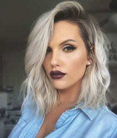 51 Gorgeous Long Bob Hairstyles Gorgeous Long Bob HairstylesThe next hairstyle we have to show you is another easy to Short Hair Styles Easy, Medium Hair Styles, Curly Hair Styles, Hair Medium, Icy Blonde, Brown Blonde Hair, Long Bob Blonde, Blonde Color, Long Bob Thin Hair