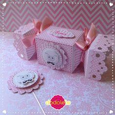 Caixa Bala e Topper 3D Ovelhinha Rosa