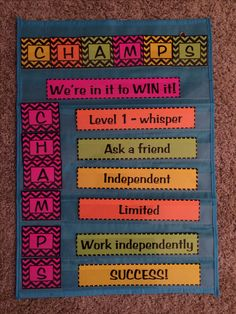 CHAMPS classroom management pocket chart. Pocket chart will make it easy to change out the expectations based on activity.
