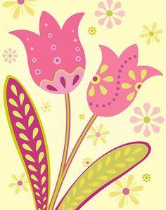 Pink Tulips Art Print by pictorialboom on Etsy