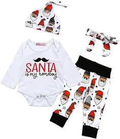 ad357eca6de christmas outfits boys - Baby Boys Girls Christmas Long Sleeve Rompers  Bodysuit and Santa Claus Pants Outfit Months)