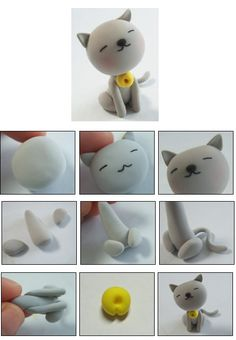 Super cute cat made out of fimo clay... will try to make it out of fondant