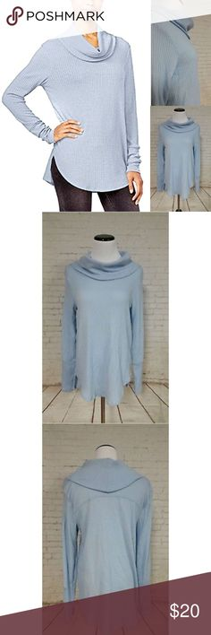NWT ULTRA FLIRT JUNIORS COWL-NECK WAFFLE-KNIT ⭐️⭐️New With Tags⭐️Next Day Ship⭐️⭐️ FREE SHIPPING on bundles $50➕  •Cowl neckline •Pullover styling •Allover ribbed knit •Hits below hip •69%polyester 29%rayon 2%spandex •machine wash Pale Blue Ultra Flirt Tops Tunics