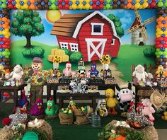 Nenhuma descrição de foto disponível. Baby Boy 1st Birthday Party, Baby Birthday Cakes, 1st Boy Birthday, Farm Animal Party, Farm Party, Farm Theme, Birthday Party Decorations, Farm Birthday, Birthday Party Boys