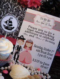 Princess and Pirate Birthday Party DIY printable PDF Invitation. $12.00, via Etsy.