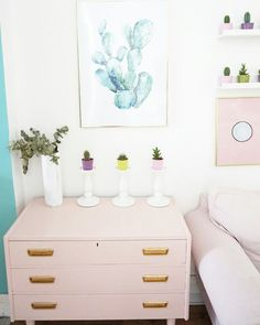 Pink drawers,cactus, desenio prints