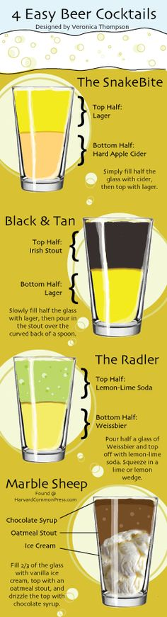 Four Easy Beer Cocktails beer recipe recipes ingredients instructions drink recipes alcohol drink recipes liquor beer recipes Party Drinks, Cocktail Drinks, Cocktail Recipes, Alcoholic Drinks, Beverages, Cocktail Waitress, Beer Brewing, Home Brewing, Beer Recipes